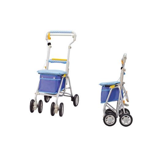ヘルスバッグ ライトミニGN LMGN-CB チェックブルー ウィズワン ミドルタイプ シルバーカー 介護用品 シニア向け 高齢者