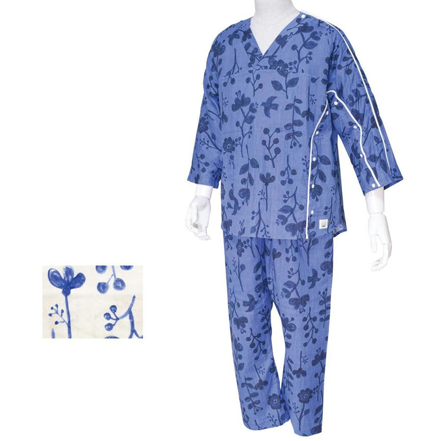 イージー オン・オフ療養パジャマ メンズ L-LL VCB024 生なり&藍 kajika 介護用品