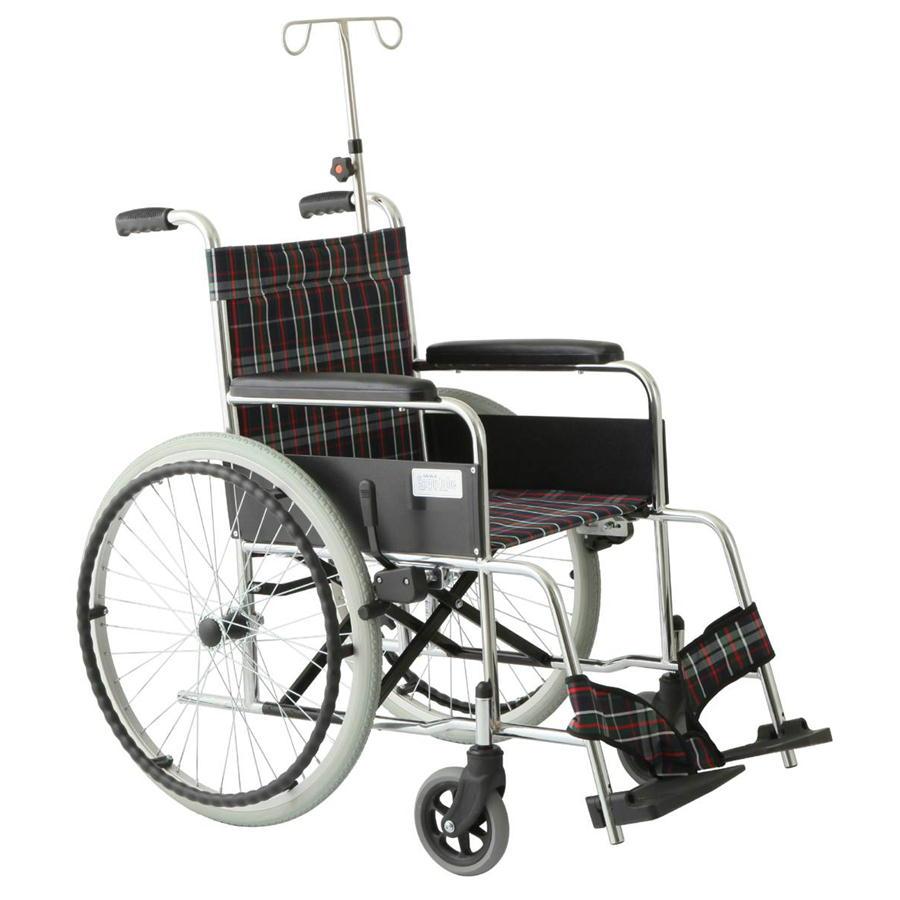 スチール製リーズ ガートル棒付エアータイヤ仕様 MW-22STS-CNV チェックネイビー 美和商事 車椅子