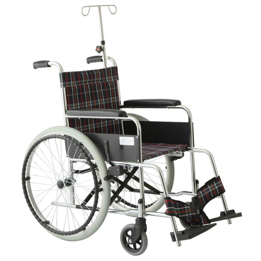 スチール製 リーズ ガートル棒付ハイポリマータイヤ仕様 MW-22STNS-CNV チェックネイビー 美和商事 ノーパンク仕様 車椅子