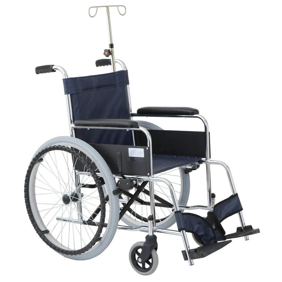 スチール製 リーズ ガートル棒付ハイポリマータイヤ仕様 MW-22STNS-LNB レザーネイビーブルー 美和商事 ノーパンク仕様 車椅子