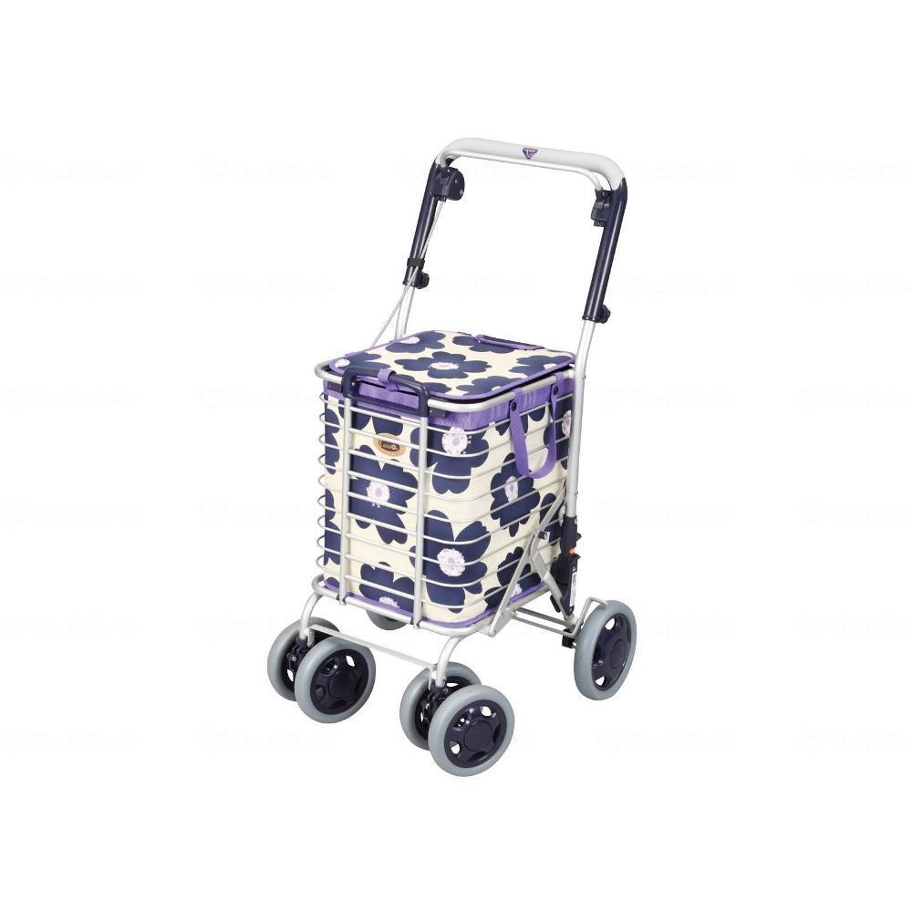 ユーバ産業 アルミワイヤーカート ブレーキ付き 花柄青 高齢者向け ショッピングカート A-0245H