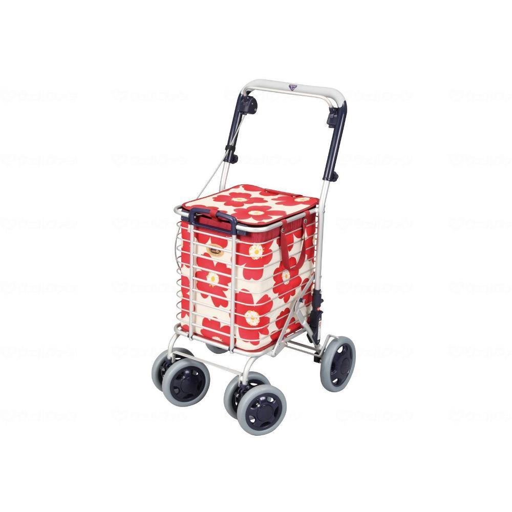 ユーバ産業 アルミワイヤーカート ブレーキ付き 花柄赤 高齢者向け ショッピングカート A-0245H