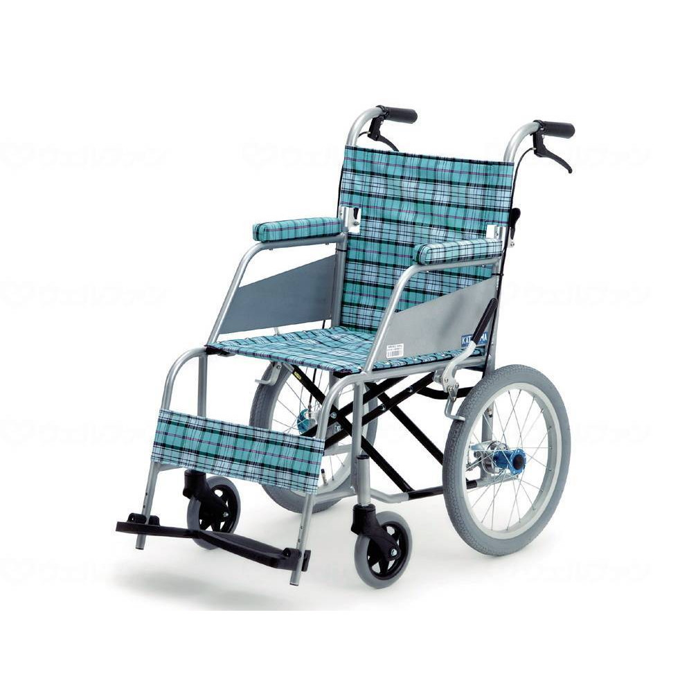 片山車椅子製作所 KARL 介助式 車いす スカッシュ・ブルー 座幅40cm KW-903