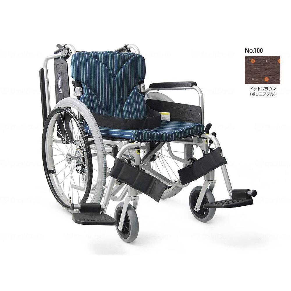カワムラサイクル 簡易モジュール自走用 高床タイプ 車いす ドットブラウン 座幅38cm KA822-38B-H
