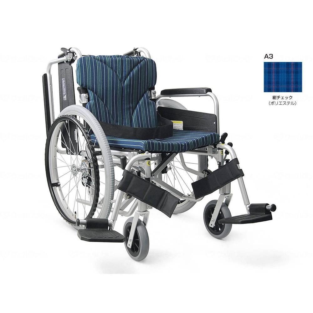 カワムラサイクル 簡易モジュール自走用 中床タイプ 車いす 紺チェック 座幅38cm KA822-38B-M