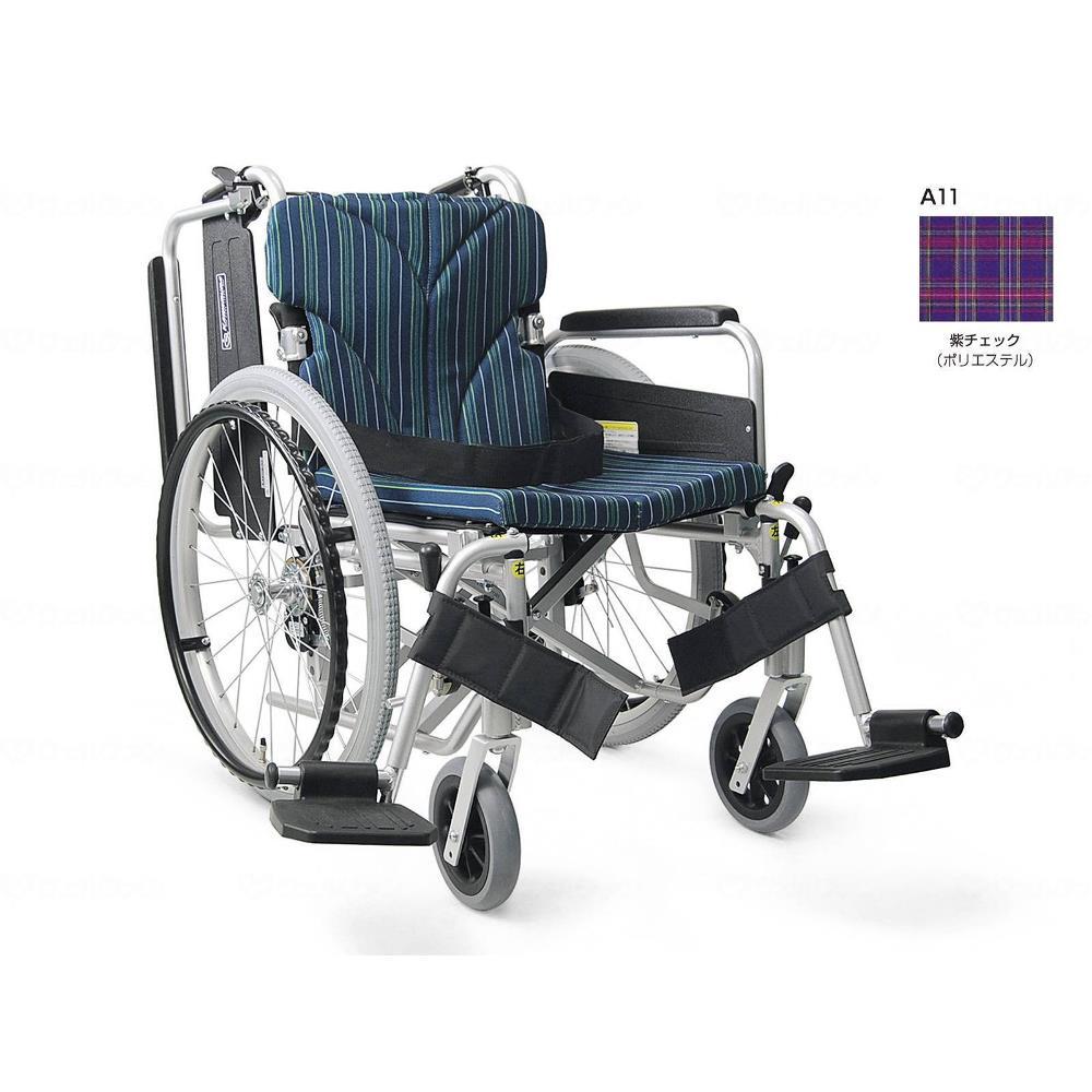 カワムラサイクル 簡易モジュール自走用 超低床タイプ 車いす 紫チェック 座幅42cm KA820-42B-SL