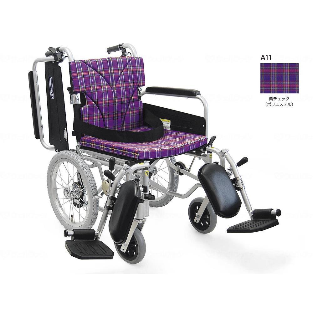 カワムラサイクル 簡易モジュール介助用 低床タイプ 車いす 紫チェック 座幅38cm KA816-38B-LO