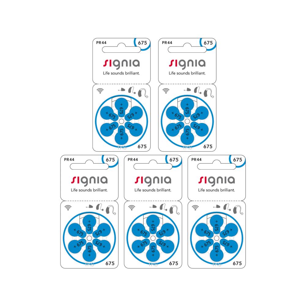 シグニア 補聴器電池 新品 鮮度抜群 ネコポス便なら送料無料 675 補聴器用空気電池PR44 5パックセット 待望 30粒入り 店舗