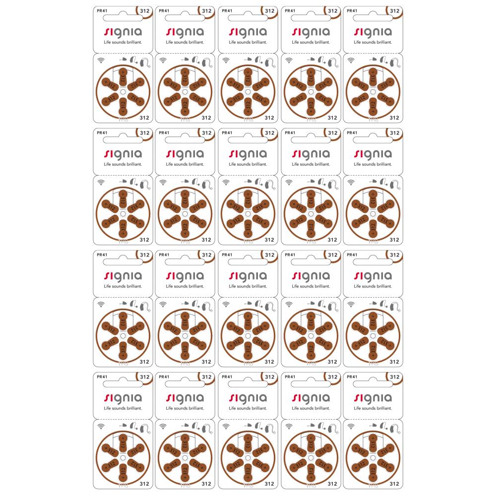 【ネコポス便なら送料無料】シグニア 補聴器用空気電池PR41(312)  20パックセット(120粒)
