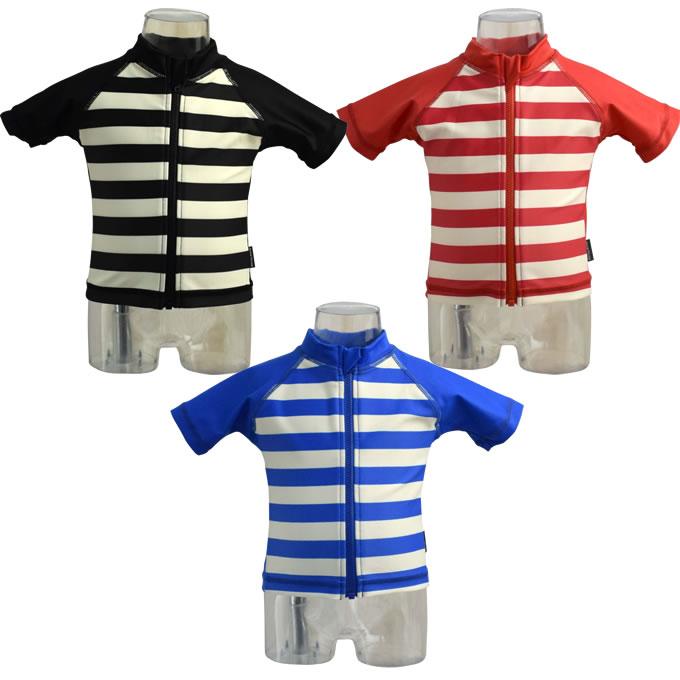 cea9b02d8 Product made in Anna Nicola (Anna Nichola) horizontal stripes short sleeves  rush guard baby ...