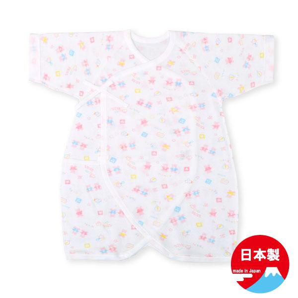 商品 ネコポス便送料無料 超安い 新生児 クマ柄エアニットコンビ肌着 日本製 50-60cm