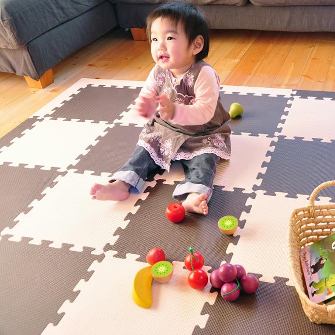 お気に入り 赤ちゃんのために安全を ジョイント式フロアーマット フロアマット ベビー リトルプリンセス ジョイント式 ツートンカラー36枚セット 抗菌仕様 ブラウン×ベージュ 195×195cm 赤ちゃん 子供 リビング 激安卸販売新品 送料無料 ジョイントマット キッズ 新生児 子供部屋 baby フロアーマット プレイマット