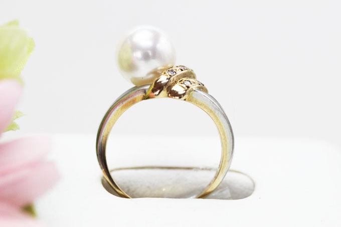 あこや真珠/ダイヤモンド 約8.8mm/0.03ctK18/Pt900デザインリング