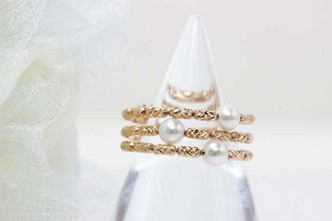 あこや真珠5個付 約3~3.3mmフリーサイズリングK18ピンクゴールド