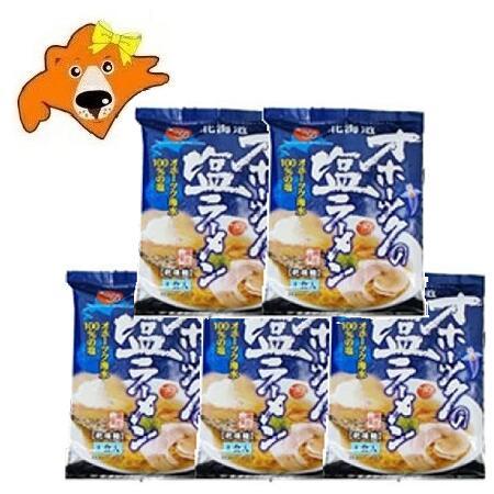 ラーメン 送料無料 乾麺 オホーツクの塩 袋麺 オホーツク 送料無料限定セール中 超激安特価 価格 スープ付 5袋セット 2270円