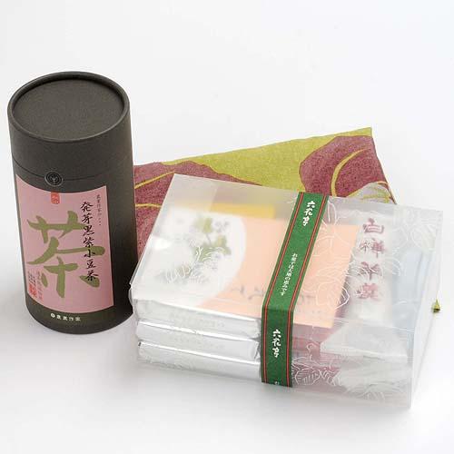 """六花亭的点心混装,""""健康一直""""的话发芽黑紫色红豆茶的安排(包袱皮包济)北海道"""