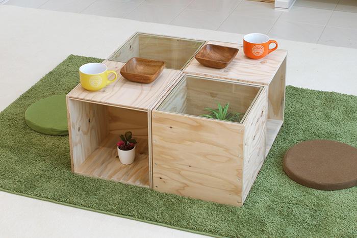 おしゃれなカラマツ合板ローテーブルセットBタイプ( 360 WOOD BOX4個+アクリル天板2枚セット)・多機能収納ボックス・木材・ウッド・木箱・木製[無塗装]