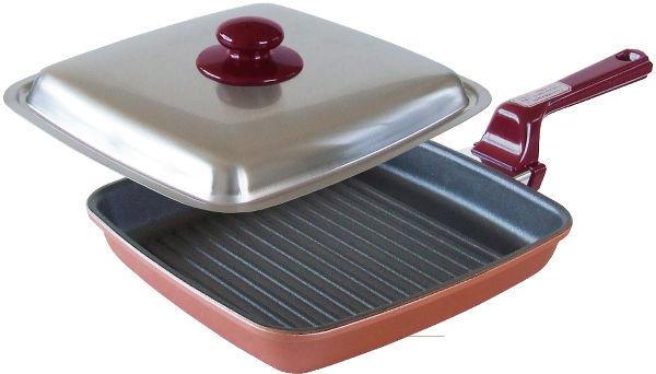 IH対応 魚焼グリルパン 25cm 蓋付グリルリブ加工 テフロン コーティング グリル 焼き魚 ステーキ 餅