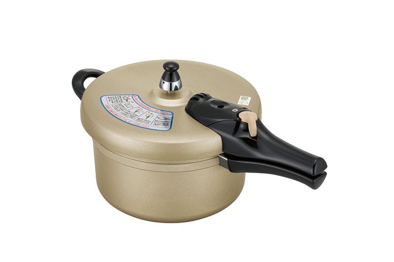 ヘルシー快速鍋/4.5L 8合炊き圧力鍋 アルミ 鋳造 キャスト アルマイト 安全 省エネ 日本製 玄米 米 ガス火