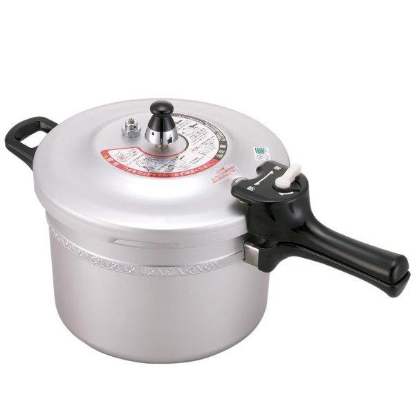 【数量限定】フッ素樹脂加工 圧力鍋 5.5L 9合炊き ガス火フッ素樹脂に対して3年保証、圧力鍋に対して1年保証付 安全 安心 日本製 使いやすい