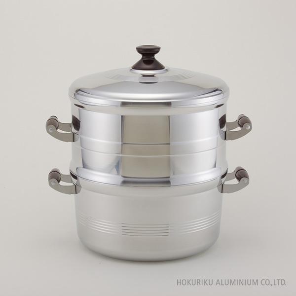 デラックス長生セイロセット一重 30cm蒸す ふかし 赤飯 もち セイロ 蒸籠 蒸し器 アルミ 軽い 鋳造 キャスト ガス火 竹スノコ付 箱入