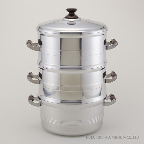 デラックス長生セイロセット二重 28cm蒸す ふかし 赤飯 もち セイロ 蒸籠 蒸し器 アルミ 軽い 鋳造 キャスト ガス火 竹スノコ付 箱入