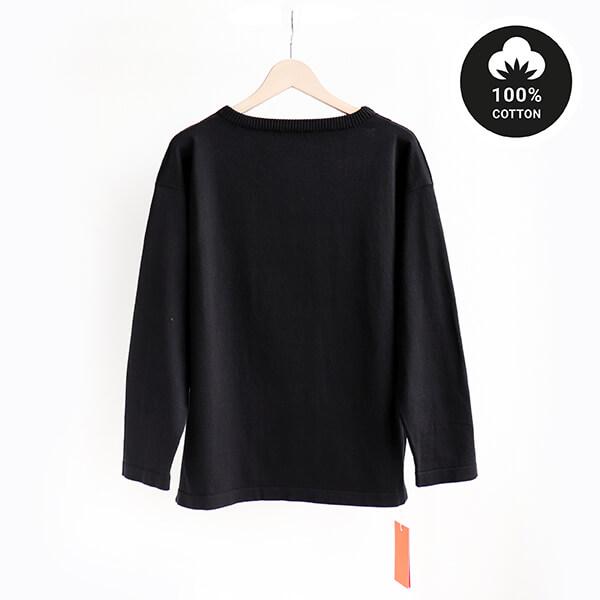 ANDERSEN-ANDERSEN アンデルセンアンデルセンBoatsman Cotton Sweater 12GG Blackボーツマン コットン セーター ブラック