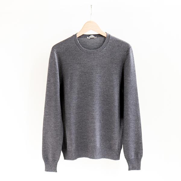GRAN SASSO グランサッソ [23198 14212]8G Wool crewneck sweater Light grey8ゲージ ウールクルーネックセーター ライトグレー [Business]