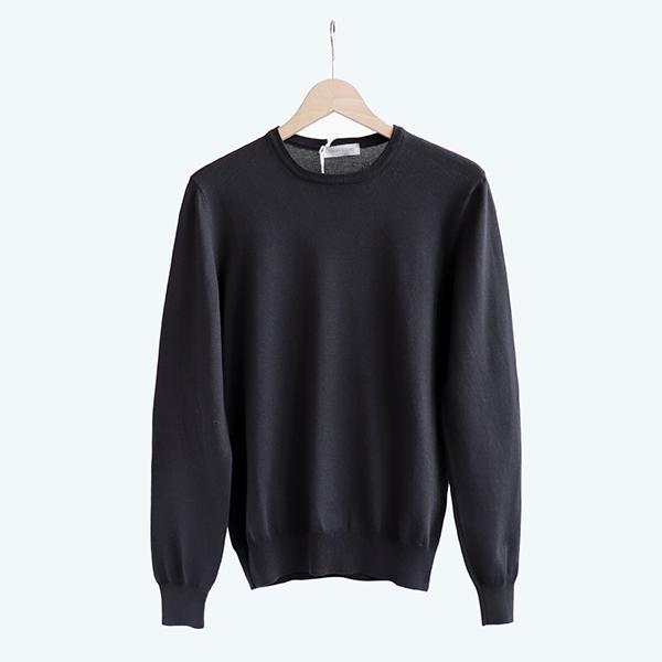 GRAN SASSO グランサッソCotton crewneck sweater Black[55167-18190]コットン クルーネックセーター ブラック
