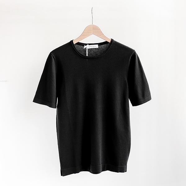 GRAN SASSO グランサッソ Cotton crewneck Short-sleeve Knit Black[58138-18120]コットン クルーネック 半袖ニット ブラック