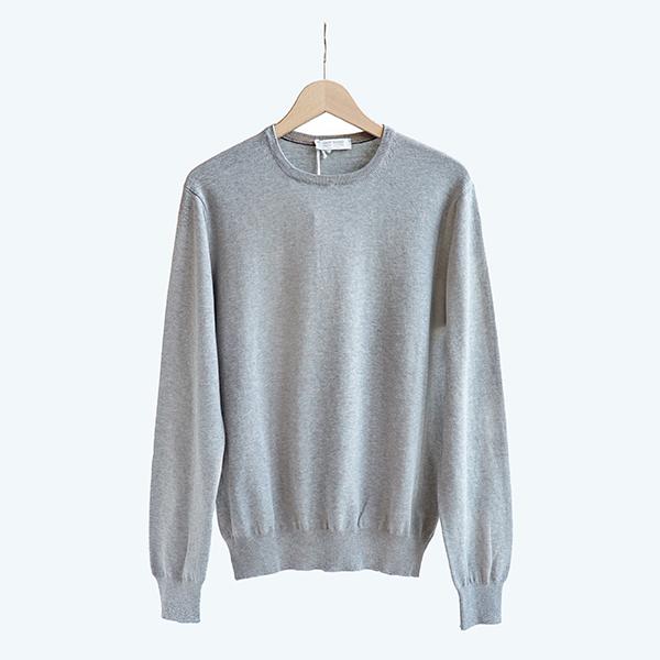 GRAN SASSO グランサッソFRESH COTTON crewneck sweater Grey[57147-20691]フレッシュコットン クルーネックセーター グレー [Business]