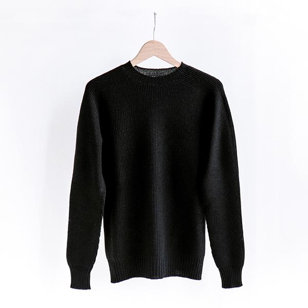 GRAN SASSO グランサッソ [24116 24602]Rain Wool sweater Blackレインウール セーター ブラック