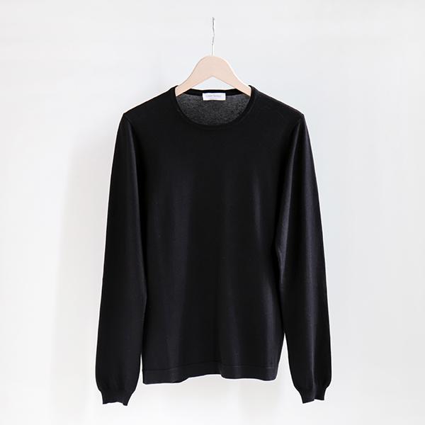 GRAN SASSO グランサッソ [58136 18120]Soft cotton crewneck sweater Blackソフトコットン クルーネックセーター ブラック [Business]
