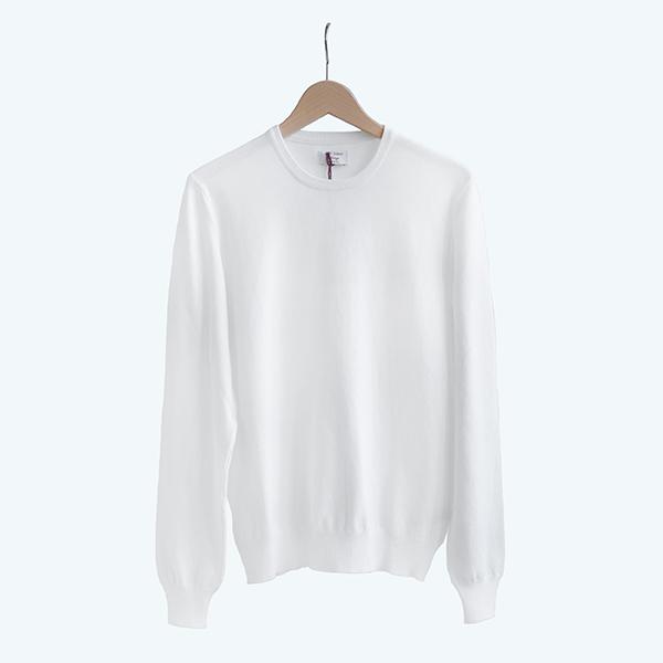 GRAN SASSO グランサッソVINTAGE LINE Cotton crewneck sweater Whiteヴィンテージライン コットン クルーネックセーター ホワイト