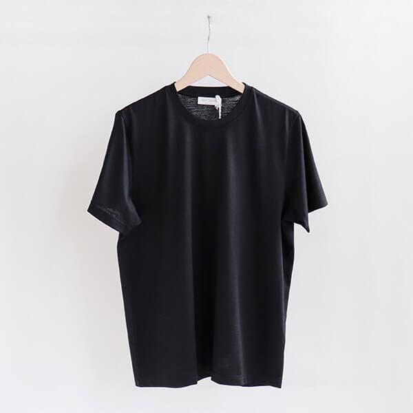GRAN SASSO グランサッソ [60130 69201]Wool jersey crewneck T-shirt Blackウールジャージー Tシャツ ブラック