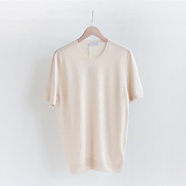 GRAN SASSO グランサッソ [57169 18601]Linen/Cotton Short-sleeve Crewneck sweater Off beigeリネン コットン半袖クルーネックセーター オフベージュ