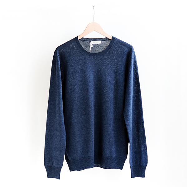 GRAN SASSO グランサッソ [57179 18601]Linen/Cotton Crewneck sweater Navyリネン コットン クルーネックセーター ネイビー