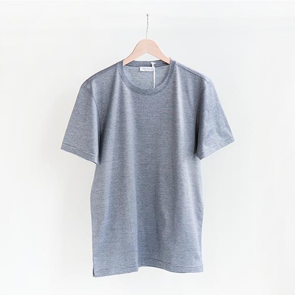 GRAN SASSO グランサッソ [60136 74400]Cotton Crewneck thin-striped T-shirt Navyコットンクルーネック 細ストライプTシャツ ネイビー