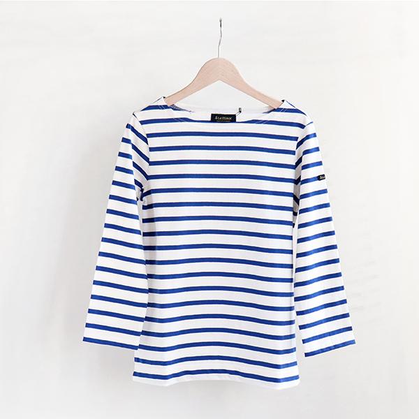 Le Minor ルミノアCotton border shirt 3/4 sleeve Blanc/Royコットン ボーダーカットソー 七分袖 ホワイト/ブルー [LEF995002] [Casual]
