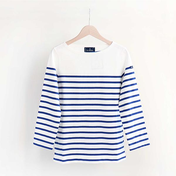 Le Minor ルミノアCotton Panel border shirt 3/4 sleeve Royコットン パネルボーダーカットソー 七分袖 ブルー[LEF995003]