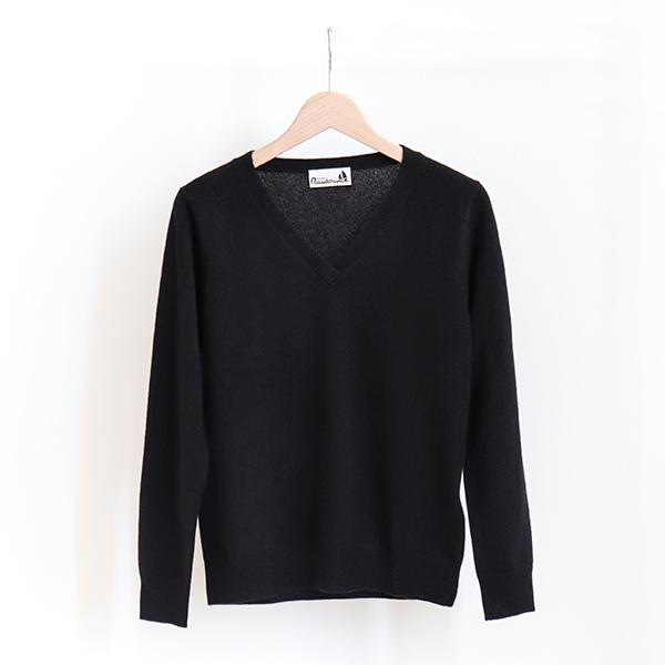 Michel Beaudouin ミッシェルボードワン100% Cashmere V-neck sweater Noirカシミア Vネックセーター ブラック [Business]