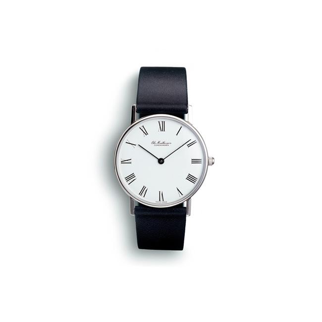 【送料無料】Ole Mathiesen オーレ・マティーセン 28mm Quartz Steel Roman (White dial/OMN-02-0021)【北欧雑貨】