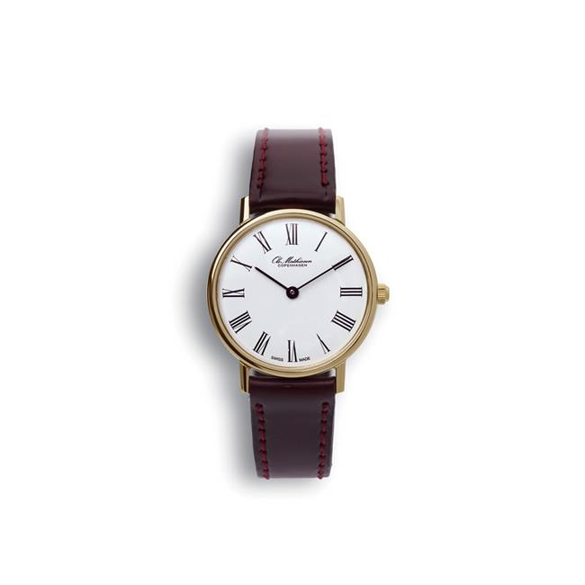 【送料無料】Ole Mathiesen オーレ・マティーセン 28mm Quartz Gold Plated Roman (White dial JP Original/OMN-02-0070)【北欧雑貨】