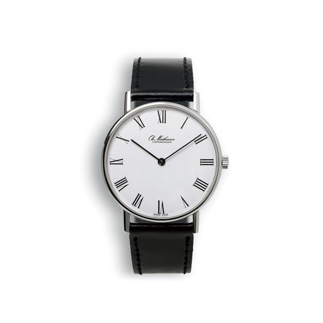 【送料無料】Ole Mathiesen オーレ・マティーセン 35mm Quartz Steel Roman (White dial JP Original/OMN-02-0062)【北欧雑貨】