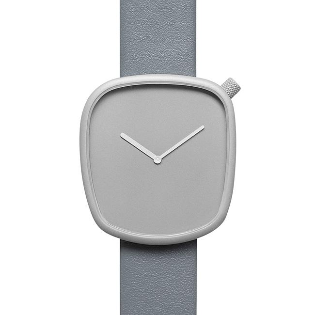 【送料無料】bulbul ブルブル ウォッチ Pebble Stone Grey Titanium Coated Steel on Grey Italian Leather 【北欧雑貨】