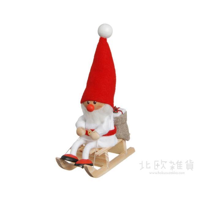 北欧雑貨 北欧クリスマス 木製人形 置物 出色 ショップ オーナメント 楽ギフ_のし宛書 楽ギフ_包装 楽ギフ_メッセ入力 クリスマス ホワイト ニッセ NORDIKA NRD120073 そりに乗ったサンタ nisse ノルディカ