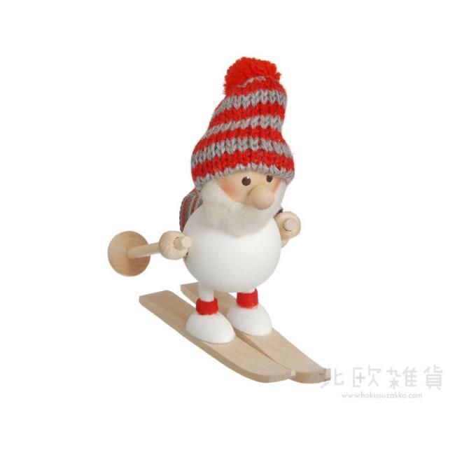 北欧雑貨 NEW売り切れる前に☆ 北欧クリスマス 木製人形 置物 オーナメント 楽ギフ_のし宛書 楽ギフ_包装 楽ギフ_メッセ入力 ノルディカ ニッセ スキーをしているふとっちょサンタ ホワイト クリスマス nisse 絶品 NRD120104 NORDIKA