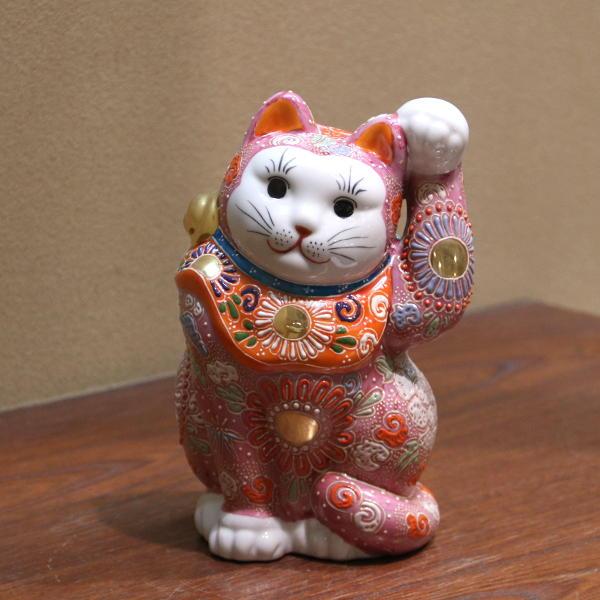 九谷焼招き猫(左手人お客招き猫)6.5号ピンク盛