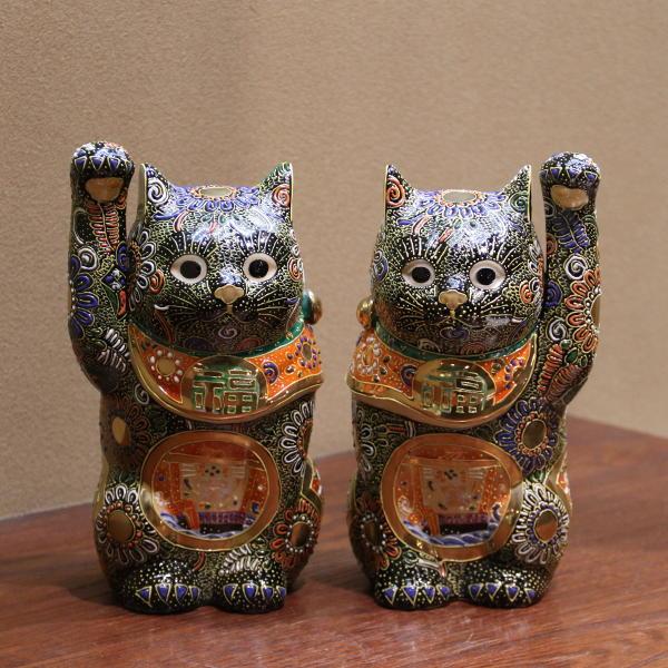 九谷焼ペア招き猫 7号黒盛 宝船